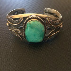 Vintage NA Sterling Silver & Turquoise Cuff
